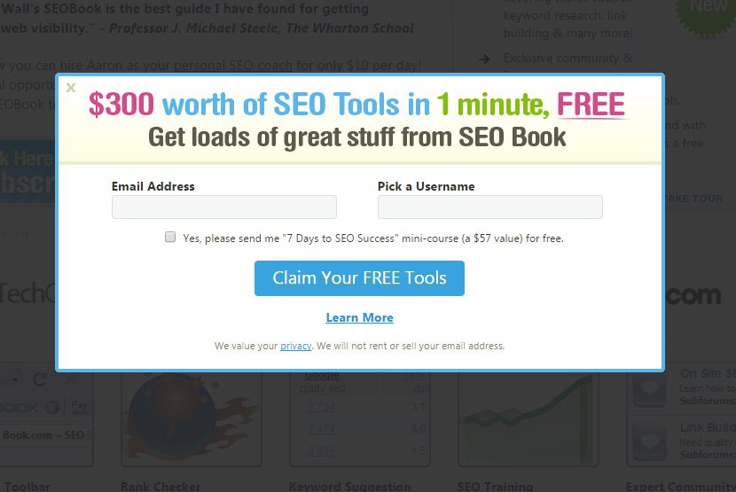 sign up for free seo tools account